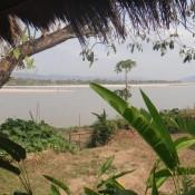 Blick von unserer Hütte auf den Mekong