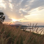 Sonnenuntergang am Mekongufer