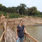 Bambus Brücke über Den Fluss Nam Khan