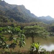 Blick Von Unserer Terrasse Auf Den Fluss Nam Ou