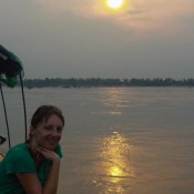 Sonnenuntergang Auf Dem Mekong