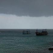 Regen Im Anmarsch Am Strand Von Au Leuk
