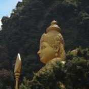 Goldene Statue Am Eingang Der Batu Caves
