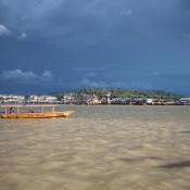 Blick Vom Festland Auf Den Brunei Fluss Und Kampong Ayer