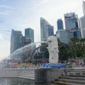 Marina Bay Und Singapurs Wahrzeichen, Die Merlion Statue