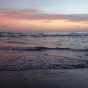 Sonnenuntergang Am Strand Von Seminyak