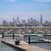 Blick Auf Melbourne Von St. Kilda Beach