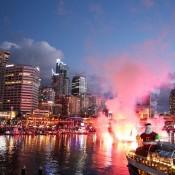 Weihnachtsspektal Im Darling Harbour