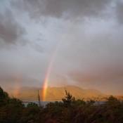 Doppelter Regenbogen über Dem Lake Te Anau