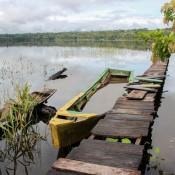 Unser Boot Für Die Tour über Den Santa Rosa See