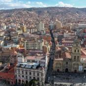 Blick über Die Dächer Von La Paz Und Die Iglesia De San Francisco
